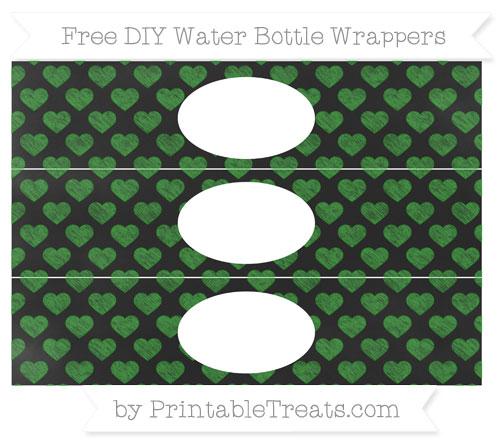 Free Forest Green Heart Pattern Chalk Style DIY Water Bottle Wrappers