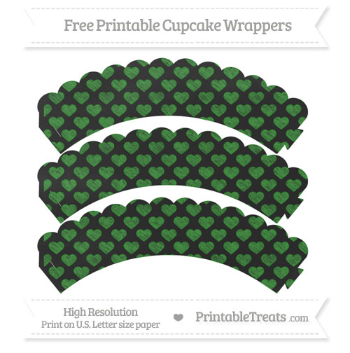 Free Forest Green Heart Pattern Chalk Style Scalloped Cupcake Wrappers