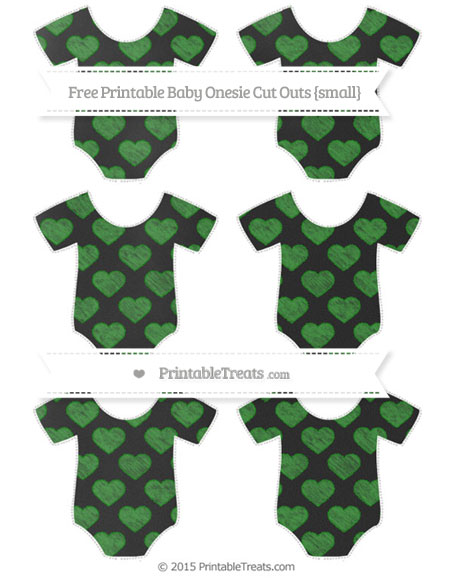 Free Forest Green Heart Pattern Chalk Style Small Baby Onesie Cut Outs
