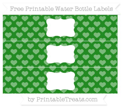 Free Forest Green Heart Pattern Water Bottle Labels