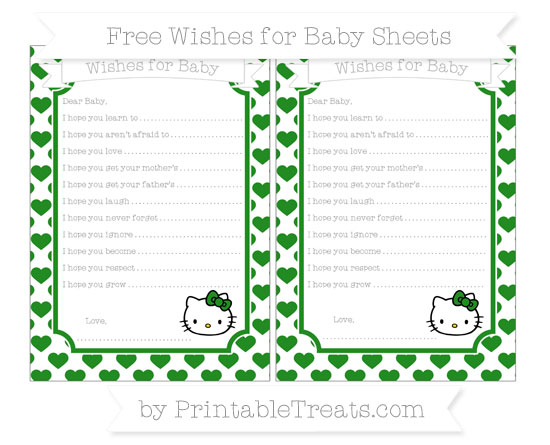 Free Forest Green Heart Pattern Hello Kitty Wishes for Baby Sheets