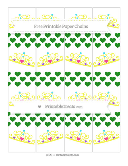 Free Forest Green Heart Pattern Princess Tiara Paper Chains
