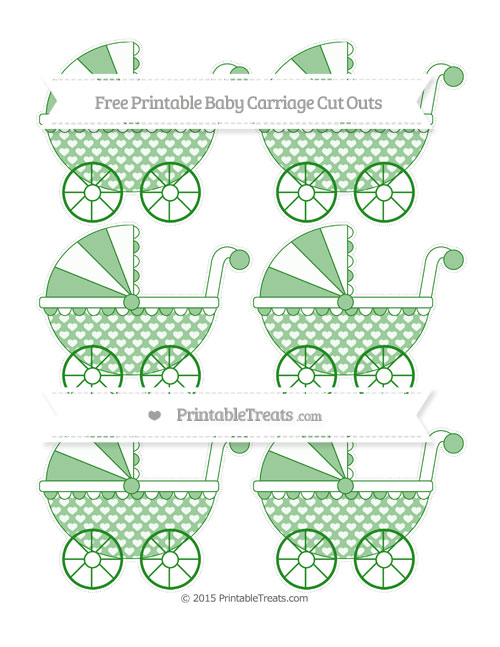 Free Forest Green Heart Pattern Small Baby Carriage Cut Outs