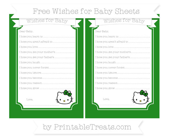Free Forest Green Hello Kitty Wishes for Baby Sheets
