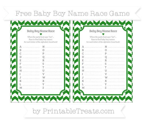 Free Forest Green Herringbone Pattern Baby Boy Name Race Game