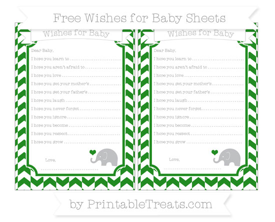 Free Forest Green Herringbone Pattern Baby Elephant Wishes for Baby Sheets