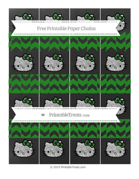 Free Forest Green Herringbone Pattern Chalk Style Hello Kitty Paper Chains