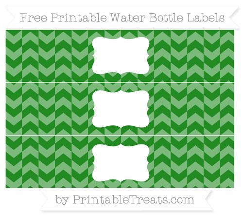 Free Forest Green Herringbone Pattern Water Bottle Labels