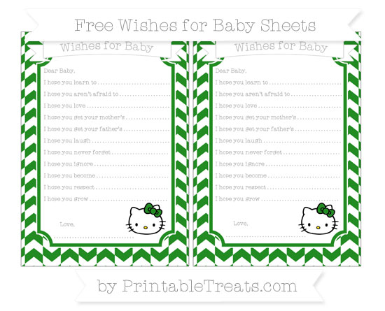 Free Forest Green Herringbone Pattern Hello Kitty Wishes for Baby Sheets