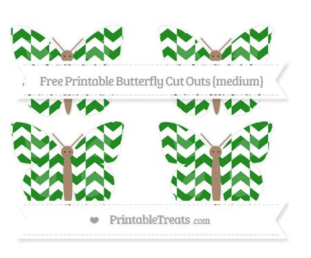 Free Forest Green Herringbone Pattern Medium Butterfly Cut Outs