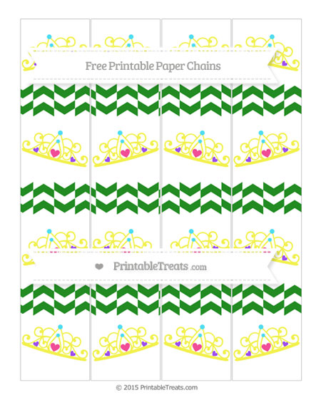 Free Forest Green Herringbone Pattern Princess Tiara Paper Chains