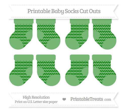 Free Forest Green Herringbone Pattern Small Baby Socks Cut Outs