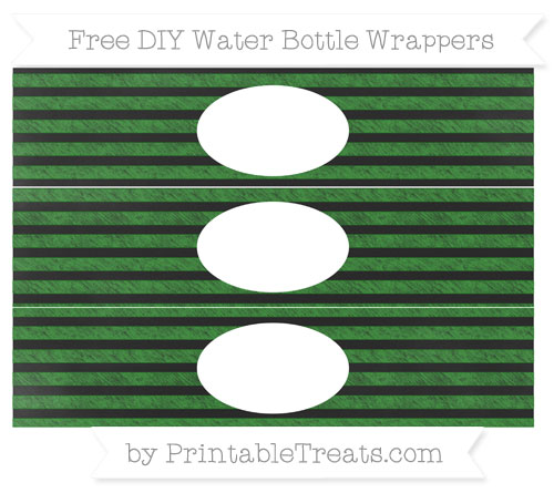 Free Forest Green Horizontal Striped Chalk Style DIY Water Bottle Wrappers