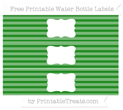 Free Forest Green Horizontal Striped Water Bottle Labels