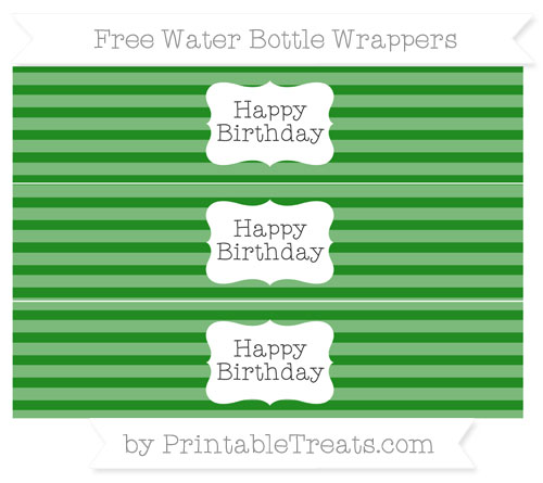 Free Forest Green Horizontal Striped Happy Birhtday Water Bottle Wrappers