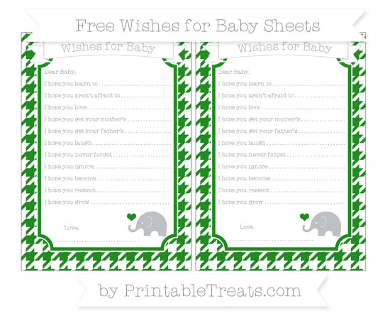 Free Forest Green Houndstooth Pattern Baby Elephant Wishes for Baby Sheets