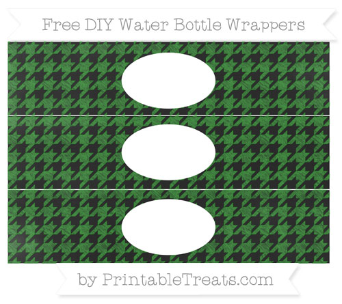 Free Forest Green Houndstooth Pattern Chalk Style DIY Water Bottle Wrappers