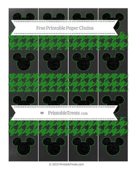Free Forest Green Houndstooth Pattern Chalk Style Mickey Mouse Paper Chains