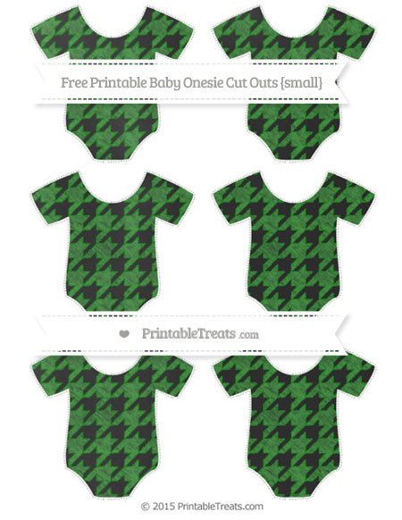 Free Forest Green Houndstooth Pattern Chalk Style Small Baby Onesie Cut Outs
