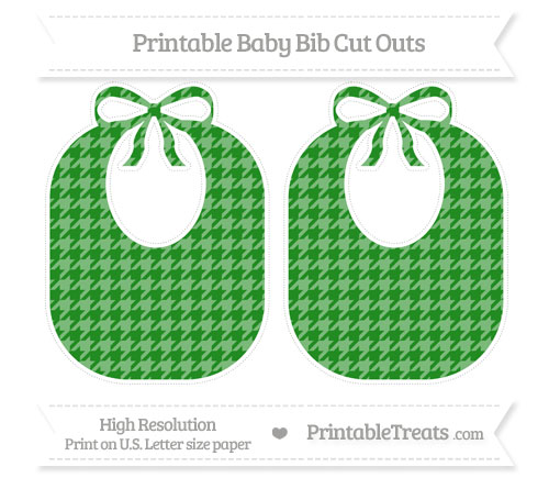 Free Forest Green Houndstooth Pattern Large Baby Bib Cut Outs