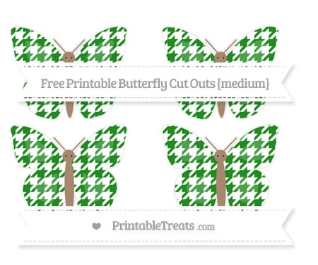 Free Forest Green Houndstooth Pattern Medium Butterfly Cut Outs