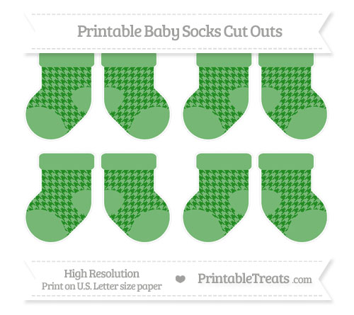 Free Forest Green Houndstooth Pattern Small Baby Socks Cut Outs