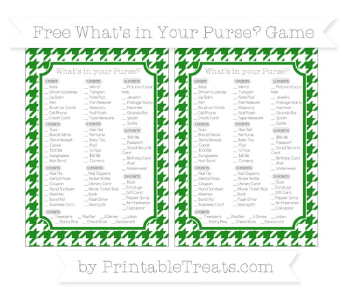 Free Forest Green Houndstooth Pattern What's in Your Purse Baby Shower Game