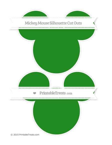 Free Forest Green Large Mickey Mouse Silhouette Cut Outs