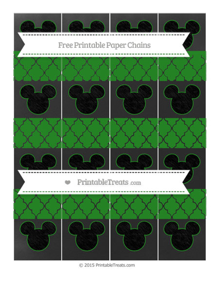 Free Forest Green Moroccan Tile Chalk Style Mickey Mouse Paper Chains
