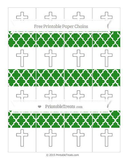 Free Forest Green Moroccan Tile Cross Paper Chains