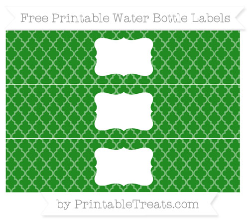 Free Forest Green Moroccan Tile Water Bottle Labels