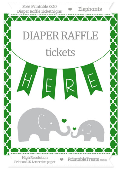 Free Forest Green Moroccan Tile Elephant 8x10 Diaper Raffle Ticket Sign