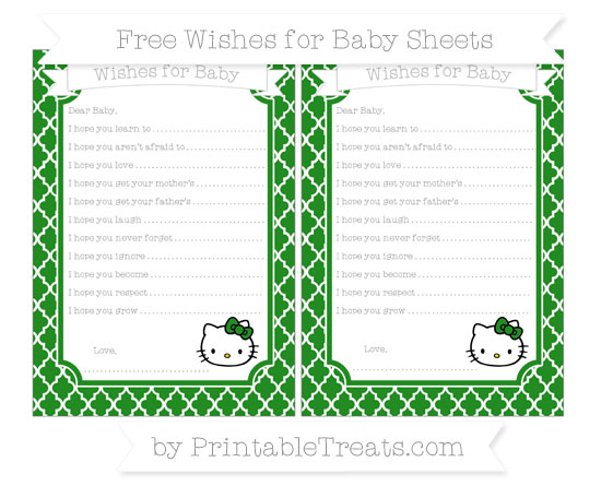 Free Forest Green Moroccan Tile Hello Kitty Wishes for Baby Sheets