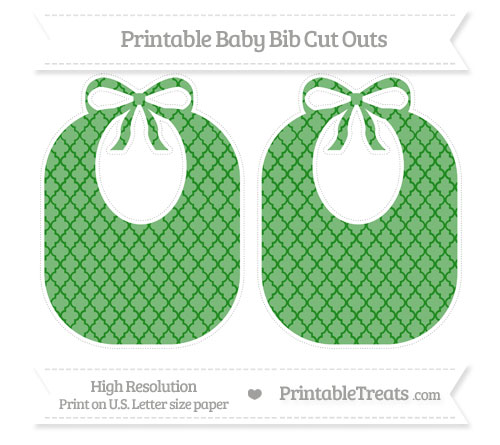 Free Forest Green Moroccan Tile Large Baby Bib Cut Outs