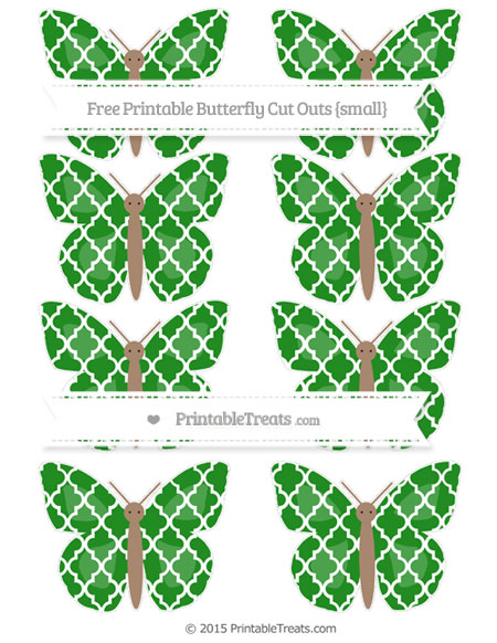 Free Forest Green Moroccan Tile Small Butterfly Cut Outs