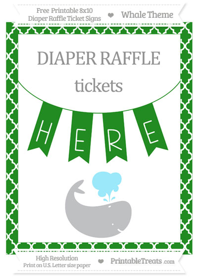 Free Forest Green Moroccan Tile Whale 8x10 Diaper Raffle Ticket Sign