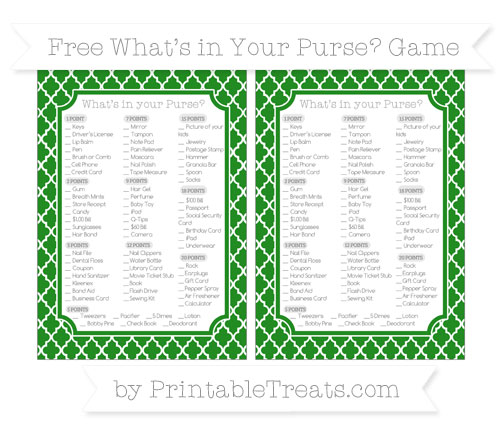 Free Forest Green Moroccan Tile What's in Your Purse Baby Shower Game