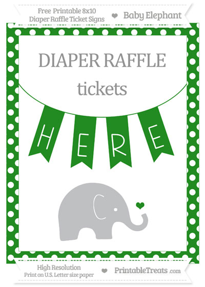 Free Forest Green Polka Dot Baby Elephant 8x10 Diaper Raffle Ticket Sign