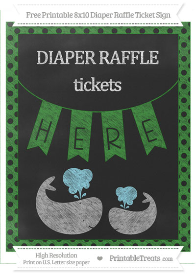 Free Forest Green Polka Dot Chalk Style Baby Whale 8x10 Diaper Raffle Ticket Sign