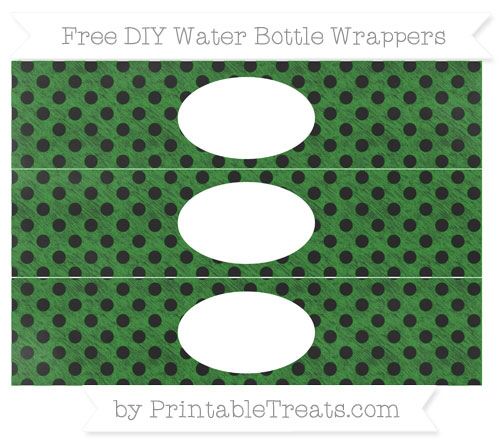Free Forest Green Polka Dot Chalk Style DIY Water Bottle Wrappers