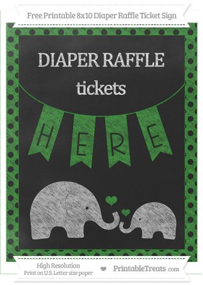 Free Forest Green Polka Dot Chalk Style Elephant 8x10 Diaper Raffle Ticket Sign