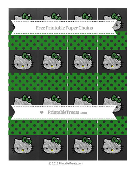 Free Forest Green Polka Dot Chalk Style Hello Kitty Paper Chains