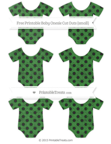 Free Forest Green Polka Dot Chalk Style Small Baby Onesie Cut Outs