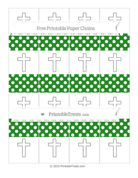 Free Forest Green Polka Dot Cross Paper Chains
