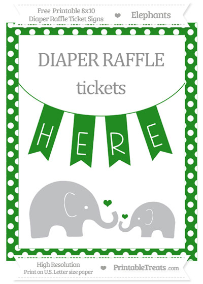 Free Forest Green Polka Dot Elephant 8x10 Diaper Raffle Ticket Sign