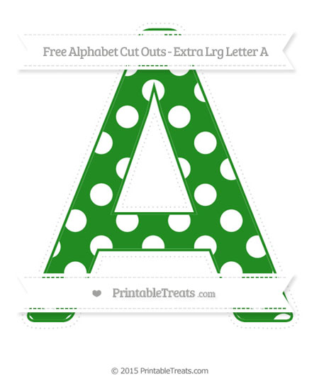 Free Forest Green Polka Dot Extra Large Capital Letter A Cut Outs