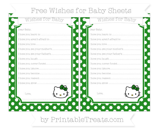 Free Forest Green Polka Dot Hello Kitty Wishes for Baby Sheets