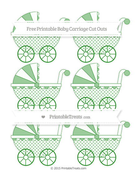 Free Forest Green Polka Dot Small Baby Carriage Cut Outs