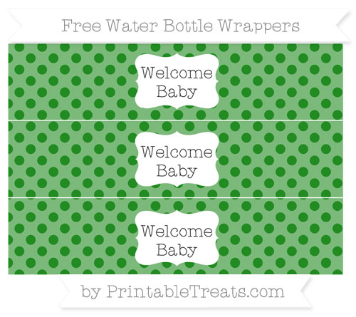 Free Forest Green Polka Dot Welcome Baby Water Bottle Wrappers