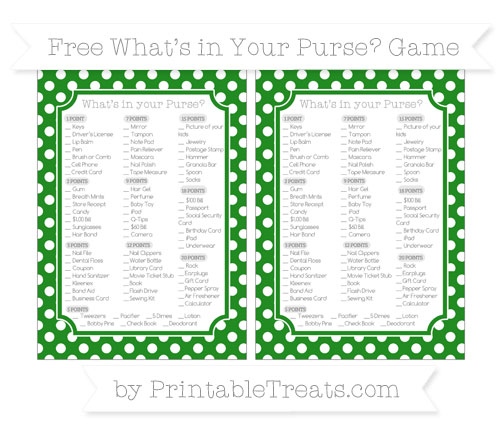Free Forest Green Polka Dot What's in Your Purse Baby Shower Game